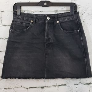 We The Free black button fly denim mini skirt